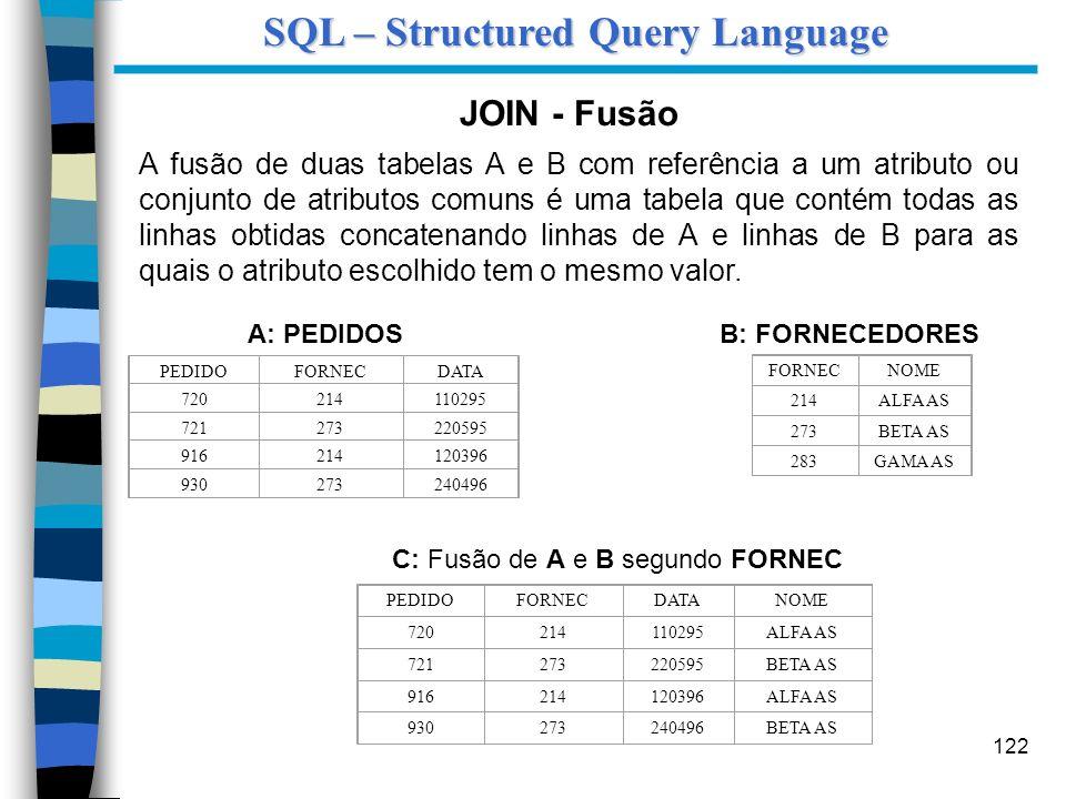 122 JOIN - Fusão A fusão de duas tabelas A e B com referência a um atributo ou conjunto de atributos comuns é uma tabela que contém todas as linhas ob