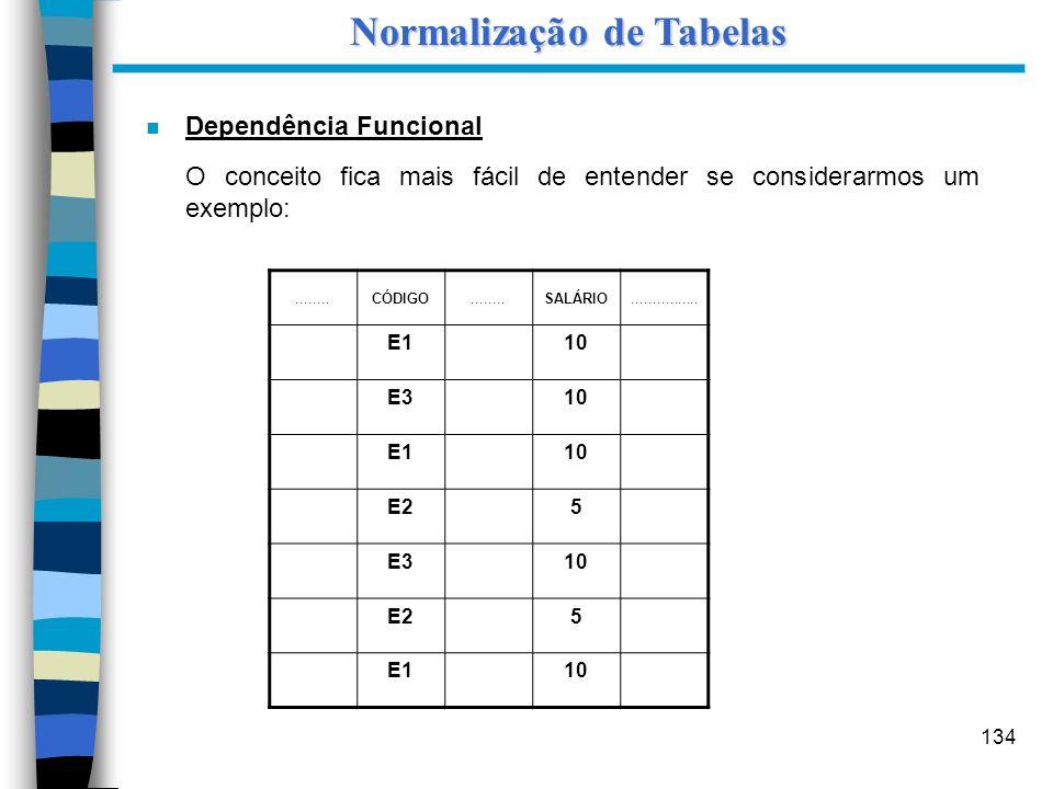 134 n Dependência Funcional O conceito fica mais fácil de entender se considerarmos um exemplo: Normalização de Tabelas........CÓDIGO........SALÁRIO..