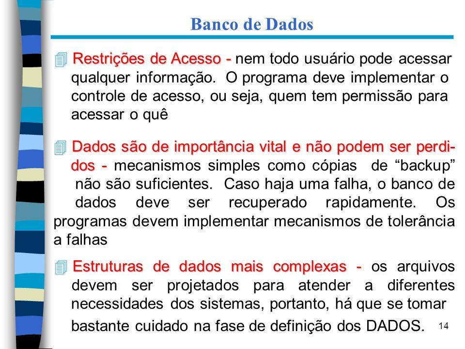 14 Banco de Dados 4 Restrições de Acesso - 4 Restrições de Acesso - nem todo usuário pode acessar qualquer informação. O programa deve implementar o c