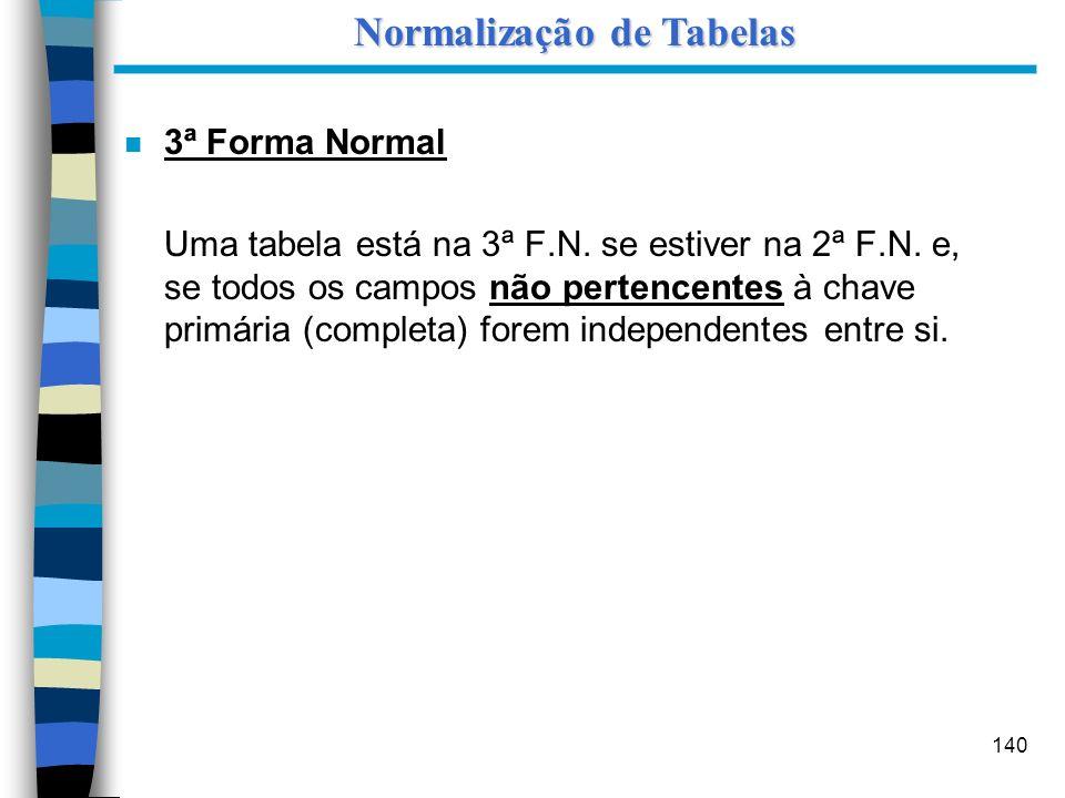 140 n 3ª Forma Normal Uma tabela está na 3ª F.N. se estiver na 2ª F.N. e, se todos os campos não pertencentes à chave primária (completa) forem indepe