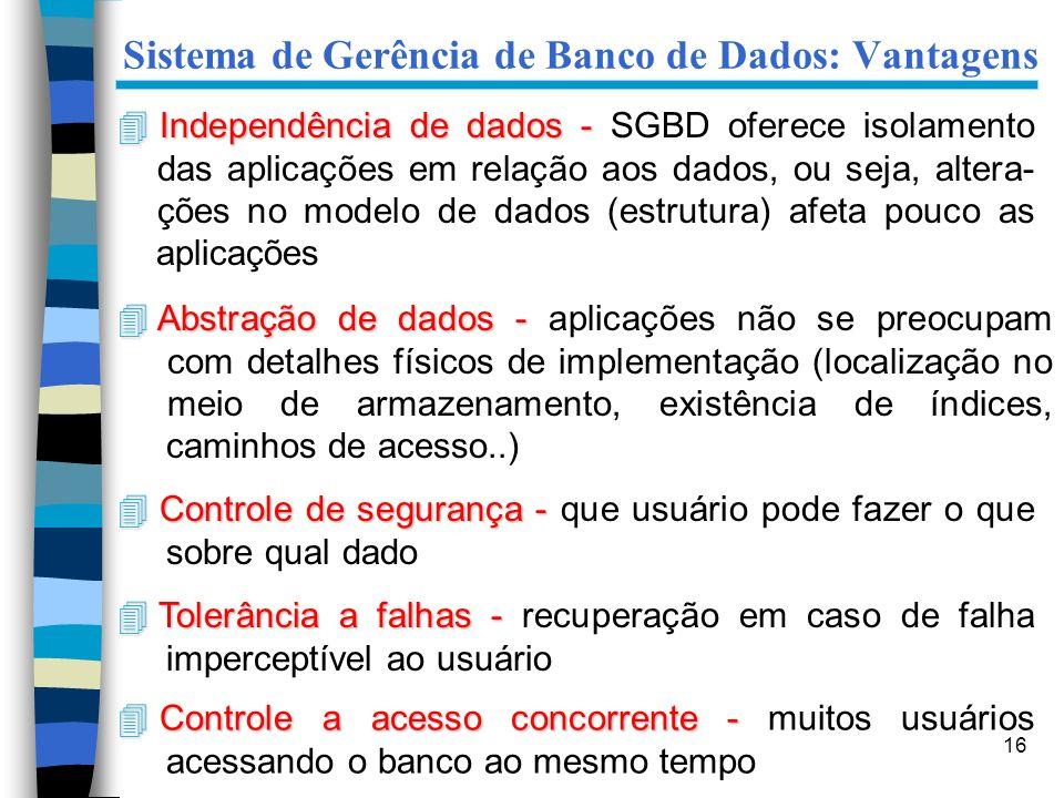 16 Sistema de Gerência de Banco de Dados: Vantagens 4 Independência de dados - 4 Independência de dados - SGBD oferece isolamento das aplicações em re