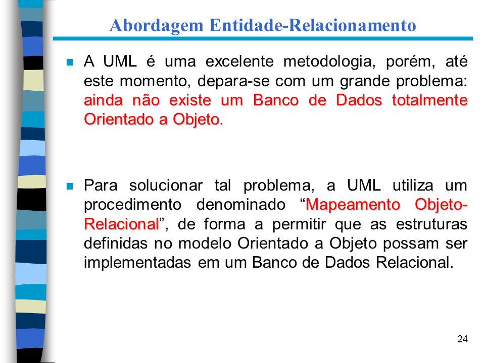 24 Abordagem Entidade-Relacionamento ainda não existe um Banco de Dados totalmente Orientado a Objeto. n A UML é uma excelente metodologia, porém, até