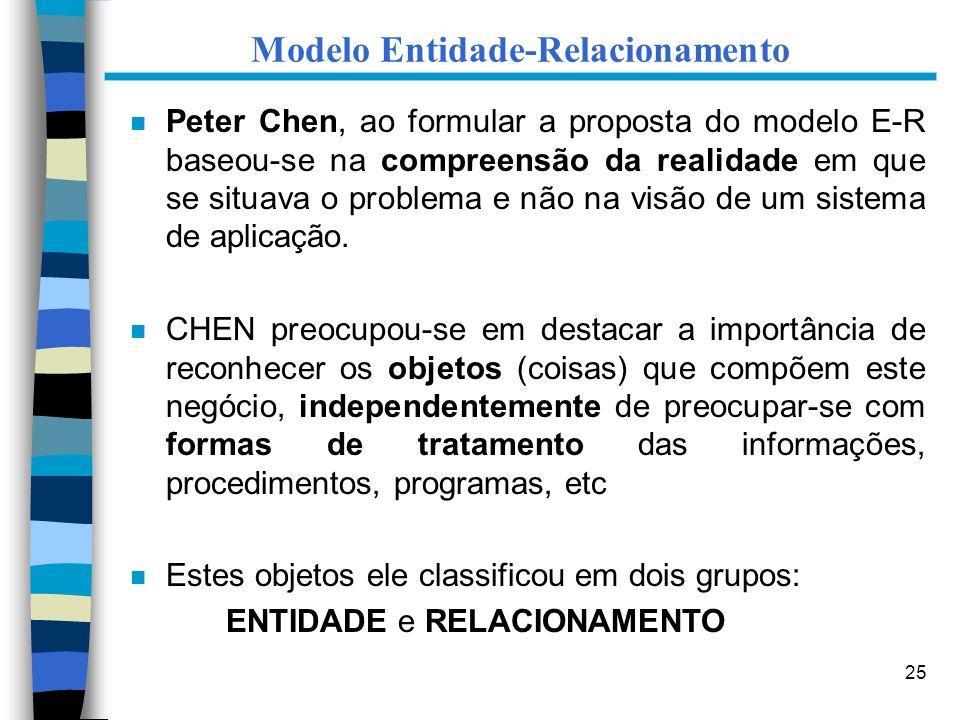 25 Modelo Entidade-Relacionamento n Peter Chen, ao formular a proposta do modelo E-R baseou-se na compreensão da realidade em que se situava o problem