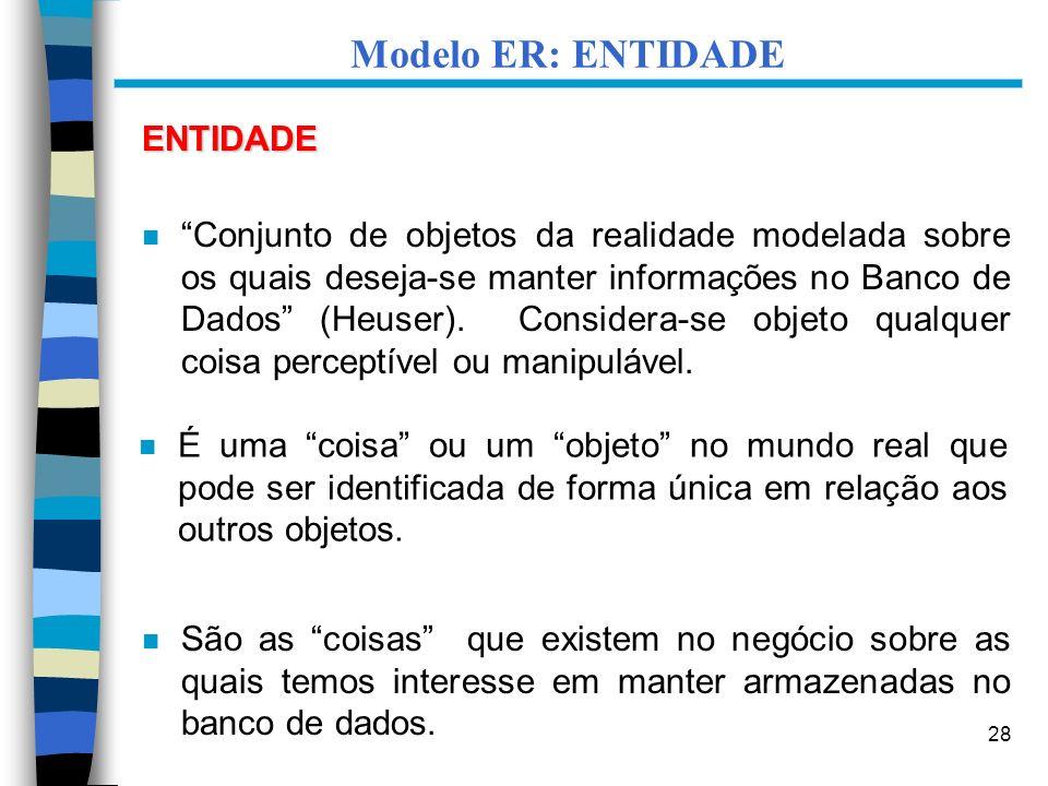 28 Modelo ER: ENTIDADE ENTIDADE n Conjunto de objetos da realidade modelada sobre os quais deseja-se manter informações no Banco de Dados (Heuser). Co