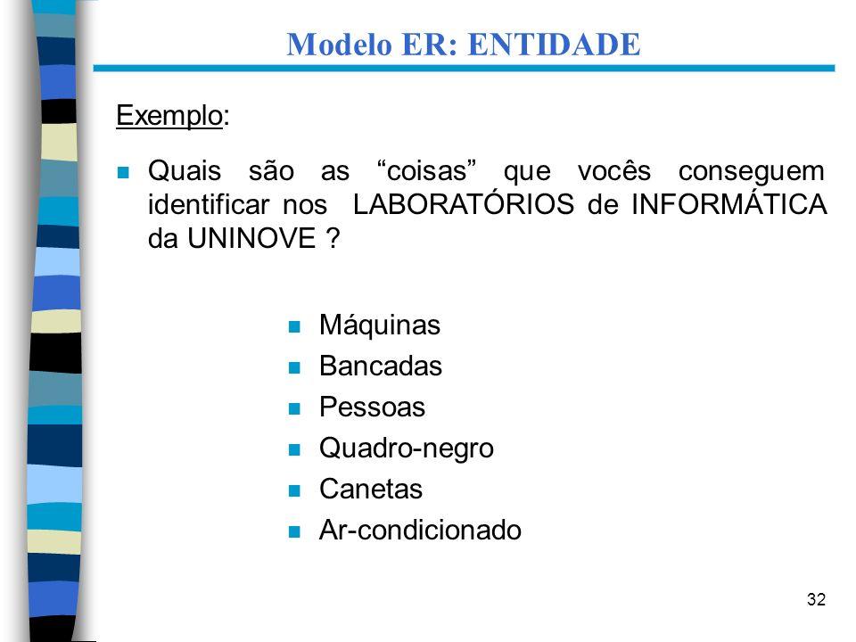 32 Modelo ER: ENTIDADE Exemplo: n Quais são as coisas que vocês conseguem identificar nos LABORATÓRIOS de INFORMÁTICA da UNINOVE ? n Máquinas n Bancad