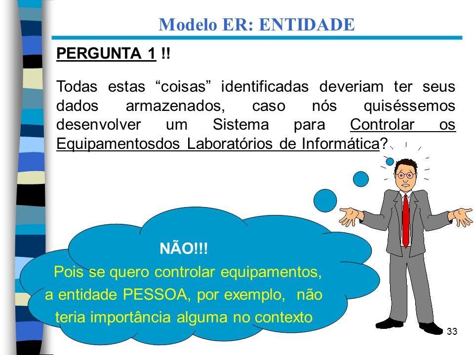 33 Modelo ER: ENTIDADE PERGUNTA 1 !! Todas estas coisas identificadas deveriam ter seus dados armazenados, caso nós quiséssemos desenvolver um Sistema