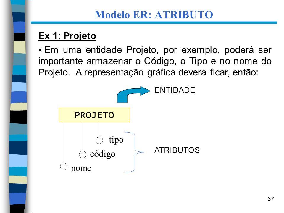 37 Ex 1: Projeto Em uma entidade Projeto, por exemplo, poderá ser importante armazenar o Código, o Tipo e no nome do Projeto. A representação gráfica