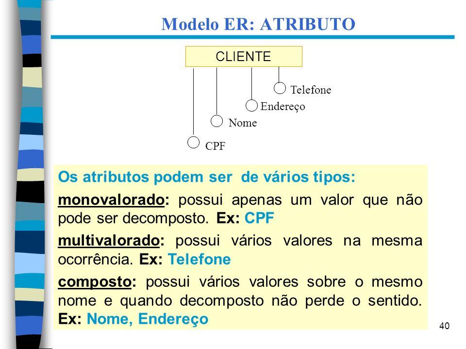 40 CLIENTE Endereço Nome CPF Os atributos podem ser de vários tipos: monovalorado: possui apenas um valor que não pode ser decomposto. Ex: CPF multiva