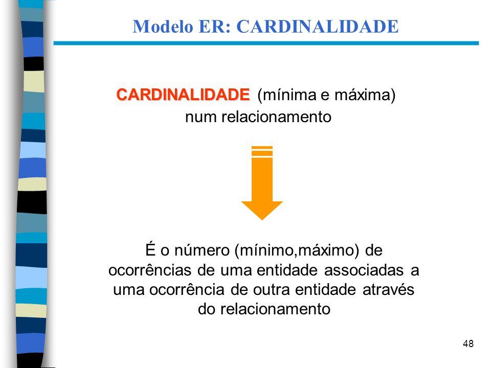 48 Modelo ER: CARDINALIDADE CARDINALIDADE CARDINALIDADE (mínima e máxima) num relacionamento É o número (mínimo,máximo) de ocorrências de uma entidade