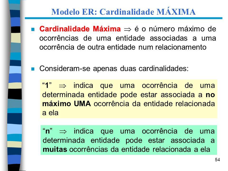 54 Modelo ER: Cardinalidade MÁXIMA n Cardinalidade Máxima n Cardinalidade Máxima é o número máximo de ocorrências de uma entidade associadas a uma oco