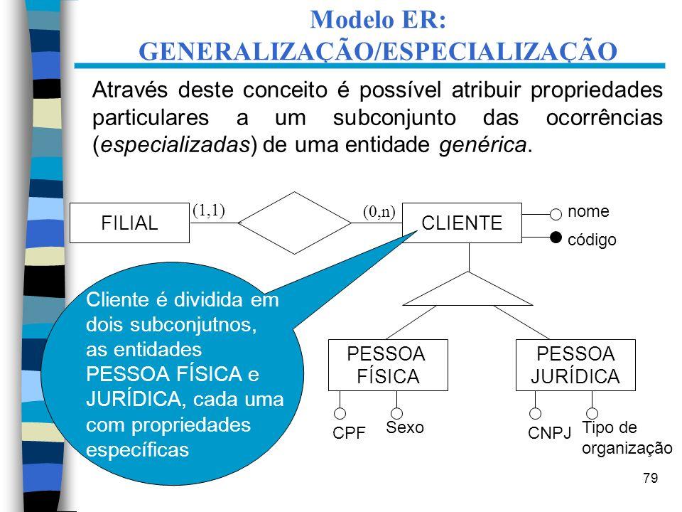 79 Através deste conceito é possível atribuir propriedades particulares a um subconjunto das ocorrências (especializadas) de uma entidade genérica. FI