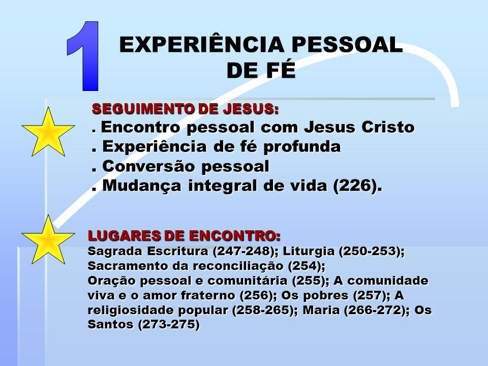 SEGUIMENTO DE JESUS:. Encontro pessoal com Jesus Cristo. Experiência de fé profunda. Conversão pessoal. Mudança integral de vida (226). LUGARES DE ENC