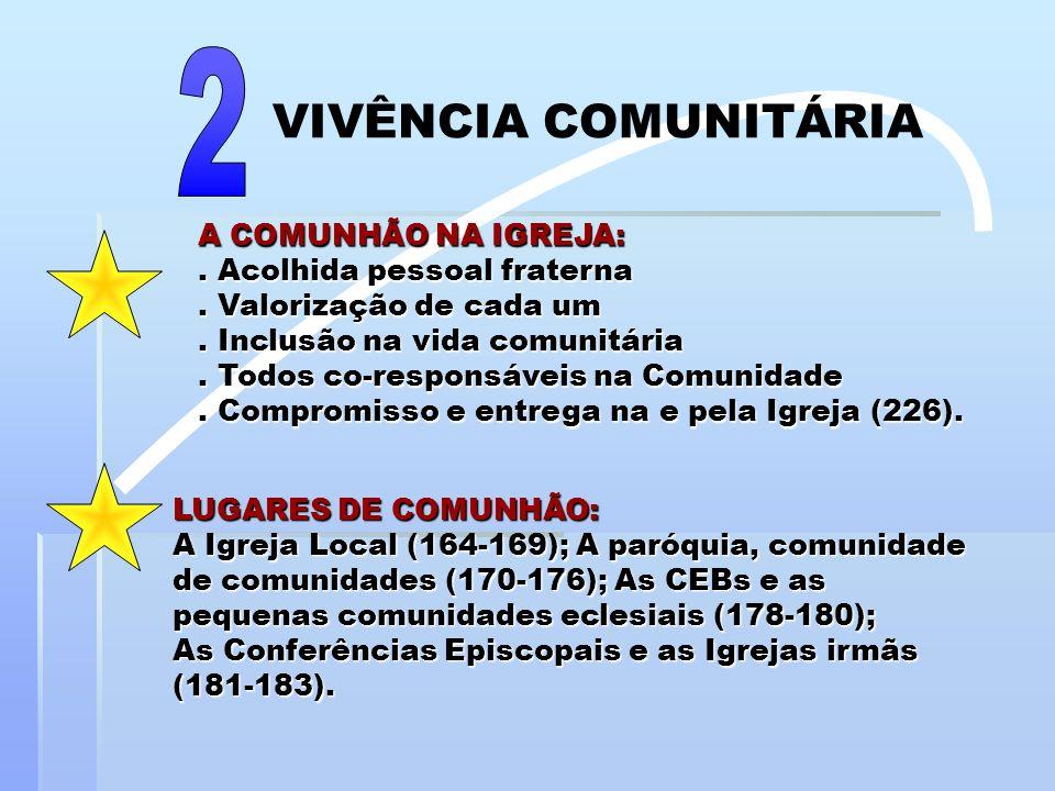 A COMUNHÃO NA IGREJA:. Acolhida pessoal fraterna. Valorização de cada um. Inclusão na vida comunitária. Todos co-responsáveis na Comunidade. Compromis