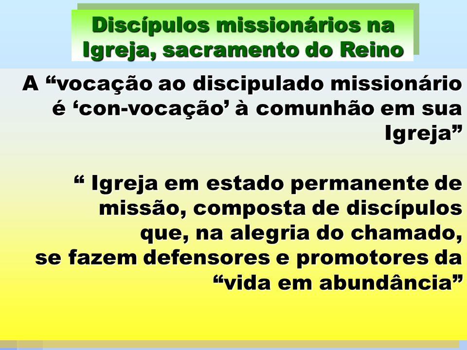 A vocação ao discipulado missionário é con-vocação à comunhão em sua Igreja Igreja em estado permanente de missão, composta de discípulos que, na aleg