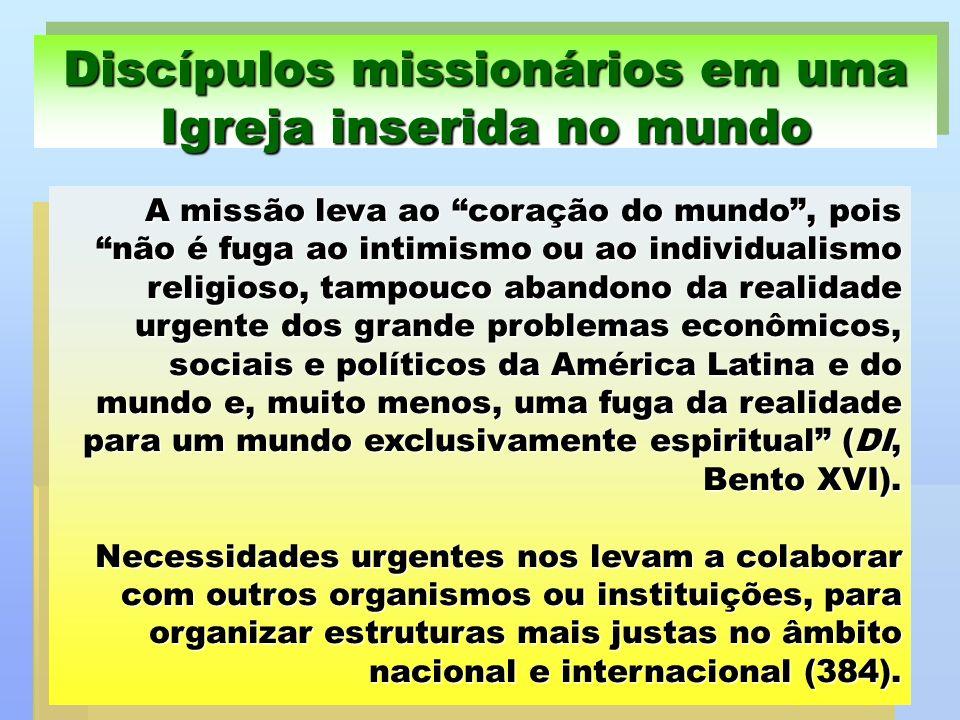 A missão leva ao coração do mundo, pois não é fuga ao intimismo ou ao individualismo religioso, tampouco abandono da realidade urgente dos grande prob