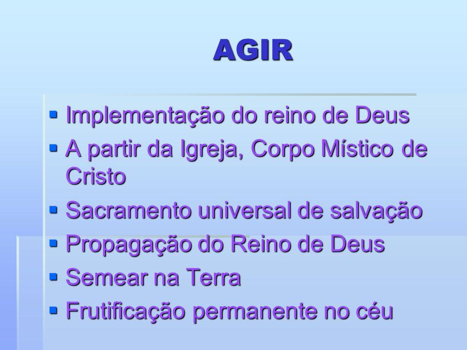AGIR Implementação do reino de Deus Implementação do reino de Deus A partir da Igreja, Corpo Místico de Cristo A partir da Igreja, Corpo Místico de Cr