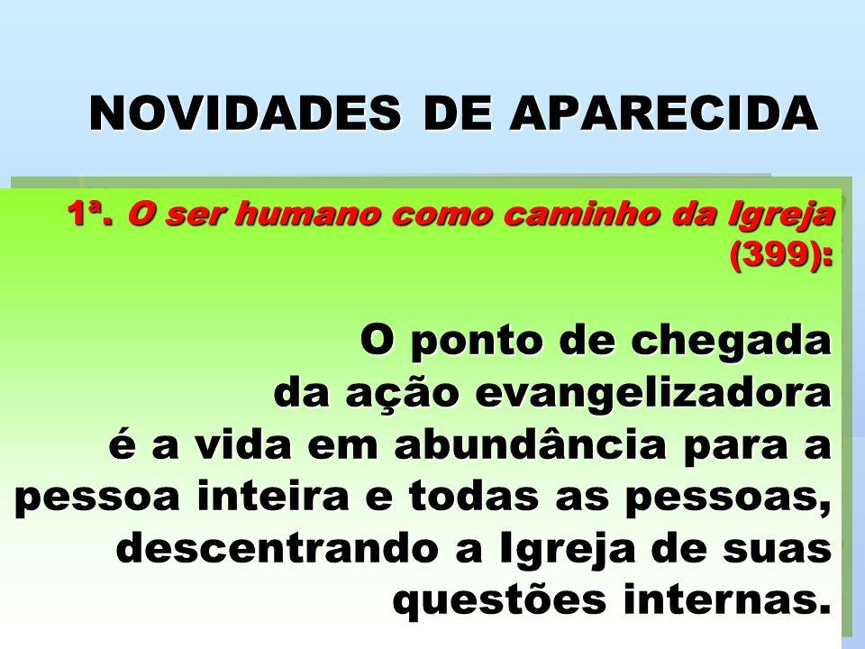 NOVIDADES DE APARECIDA 1ª. O ser humano como caminho da Igreja (399): O ponto de chegada da ação evangelizadora é a vida em abundância para a pessoa i