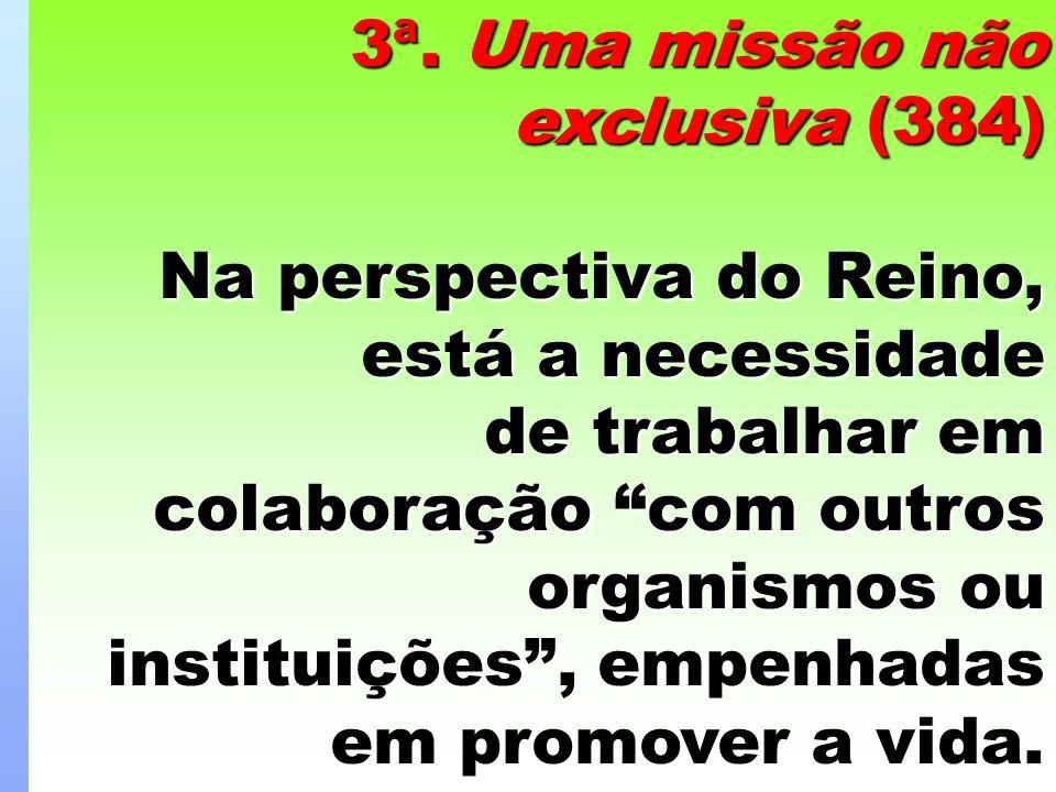 3ª. Uma missão não exclusiva (384) Na perspectiva do Reino, está a necessidade de trabalhar em colaboração com outros organismos ou instituições, empe
