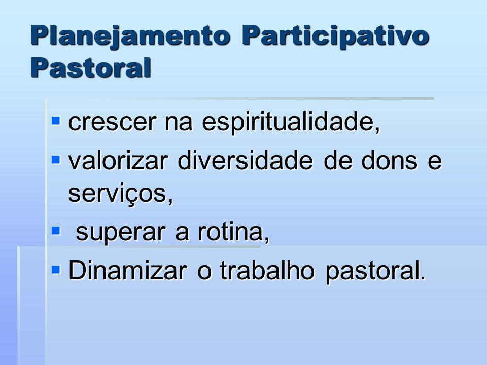 Planejamento Participativo Pastoral crescer na espiritualidade, crescer na espiritualidade, valorizar diversidade de dons e serviços, valorizar divers