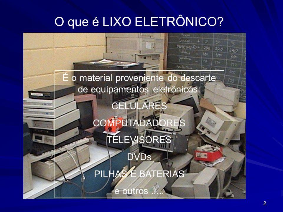 13 DESCARACTERIZAÇÂO Grande parte do lixo eletrônico captado no Brasil é processado da seguinte forma: as partes valiosas mais expostas ou aquelas que não podem ser descaracterizadas (por exemplo, monitores de computador) são separadas manualmente.