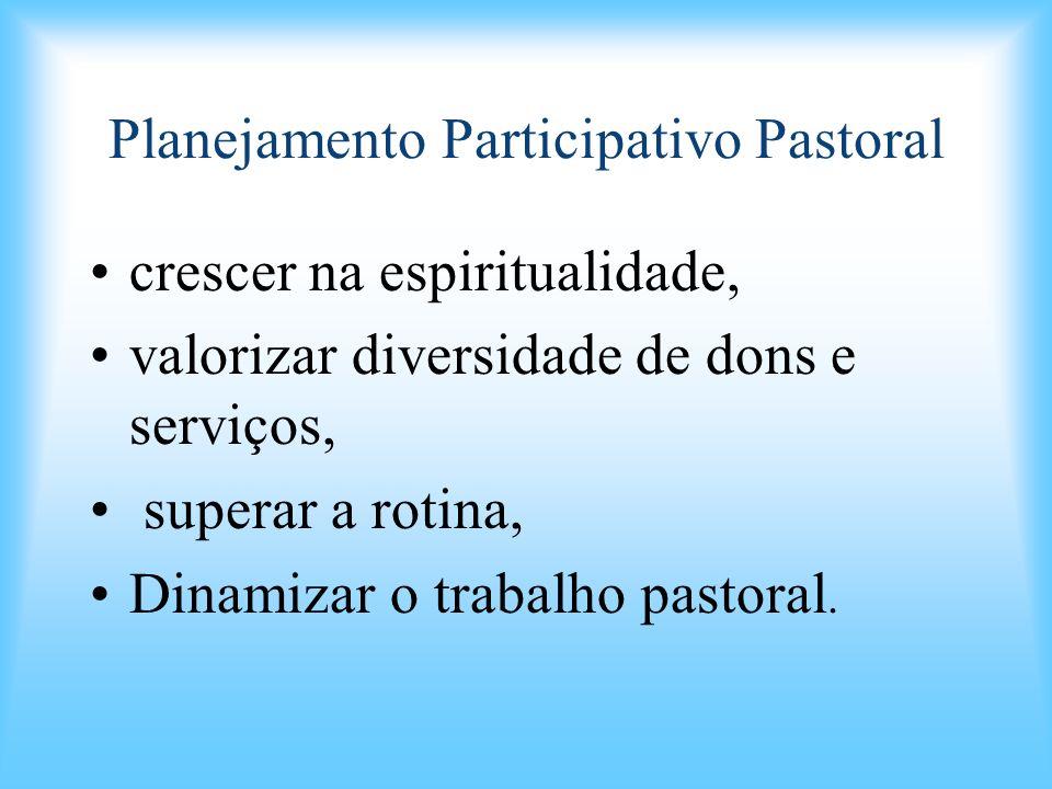 Planejamento Participativo Pastoral crescer na espiritualidade, valorizar diversidade de dons e serviços, superar a rotina, Dinamizar o trabalho pasto
