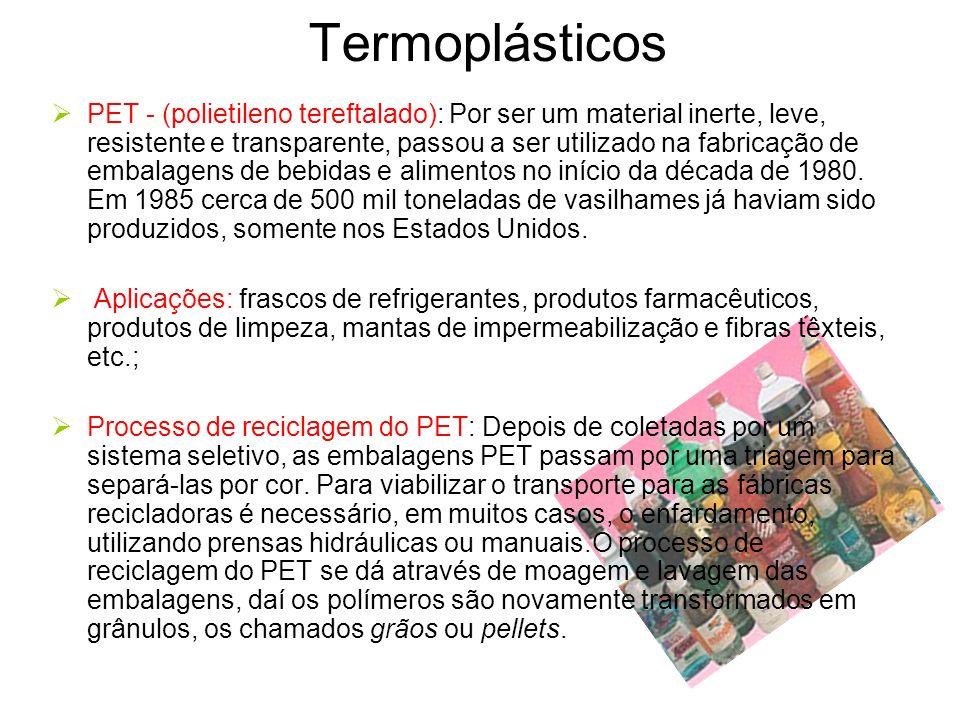 Termoplásticos PET - (polietileno tereftalado): Por ser um material inerte, leve, resistente e transparente, passou a ser utilizado na fabricação de e