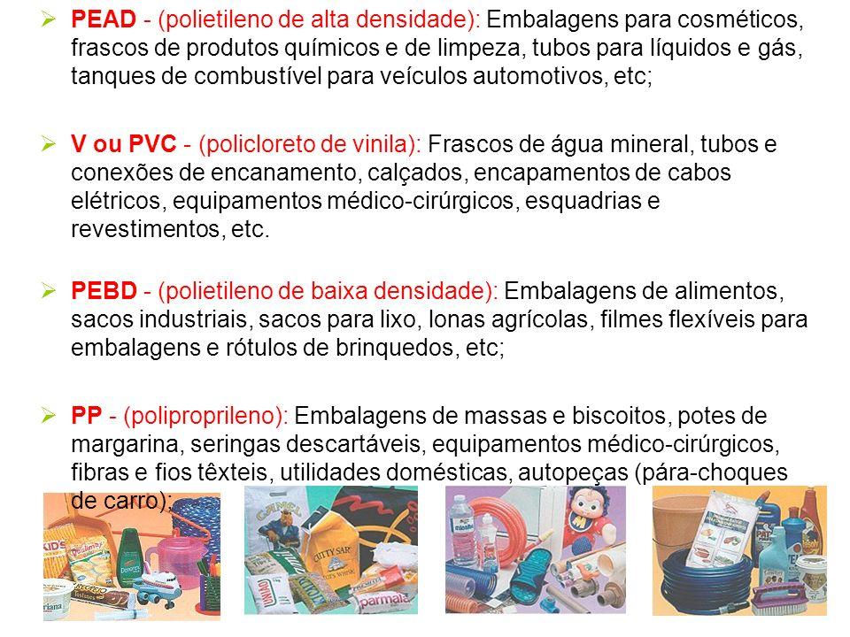 PEAD - (polietileno de alta densidade): Embalagens para cosméticos, frascos de produtos químicos e de limpeza, tubos para líquidos e gás, tanques de c
