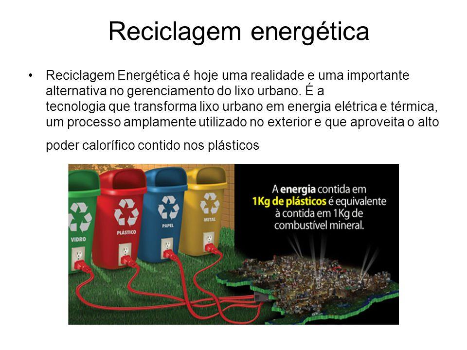 Reciclagem energética Reciclagem Energética é hoje uma realidade e uma importante alternativa no gerenciamento do lixo urbano. É a tecnologia que tran