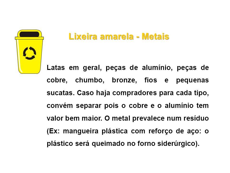 Lixeira amarela - Metais Latas em geral, peças de alumínio, peças de cobre, chumbo, bronze, fios e pequenas sucatas. Caso haja compradores para cada t