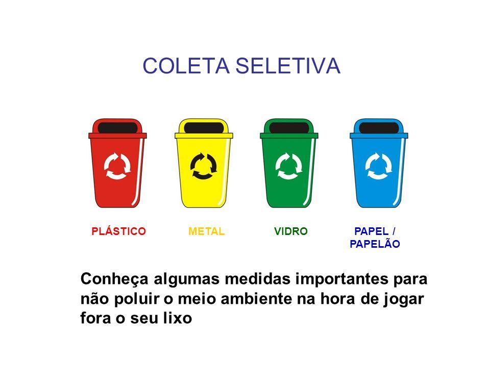 Conheça algumas medidas importantes para não poluir o meio ambiente na hora de jogar fora o seu lixo PLÁSTICOVIDROPAPEL / PAPELÃO METAL