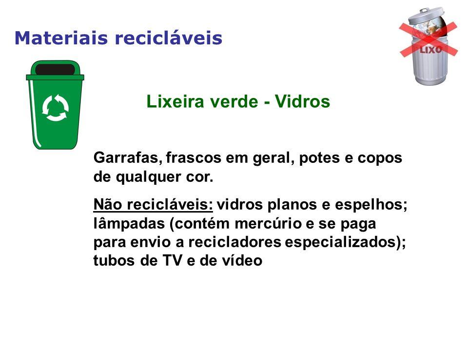 Materiais recicláveis Garrafas, frascos em geral, potes e copos de qualquer cor. Não recicláveis: vidros planos e espelhos; lâmpadas (contém mercúrio