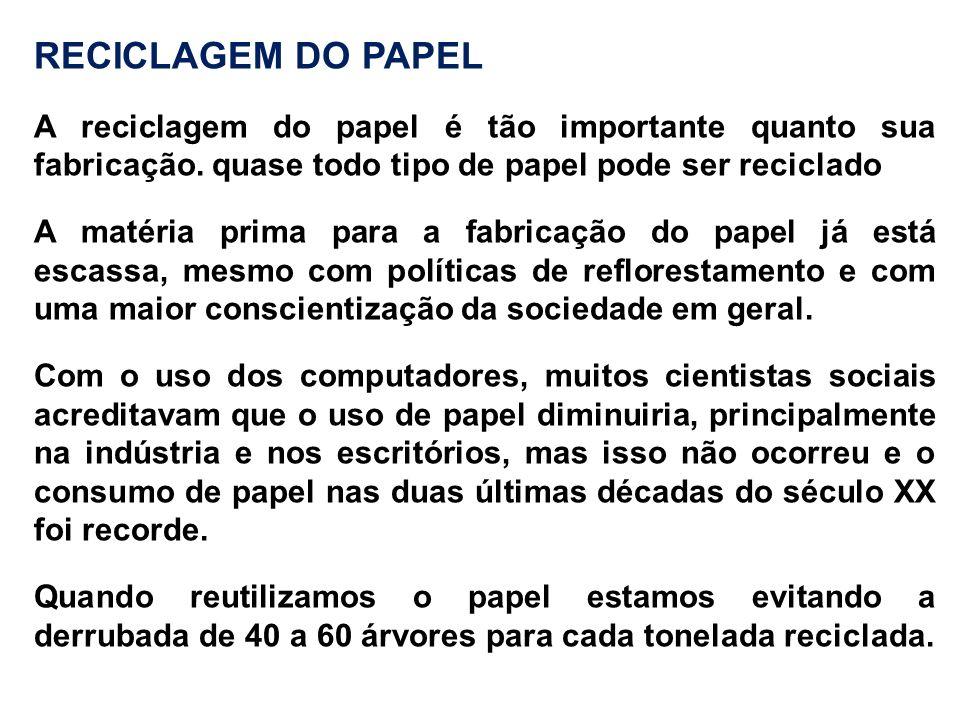 RECICLAGEM DO PAPEL A reciclagem do papel é tão importante quanto sua fabricação. quase todo tipo de papel pode ser reciclado A matéria prima para a f
