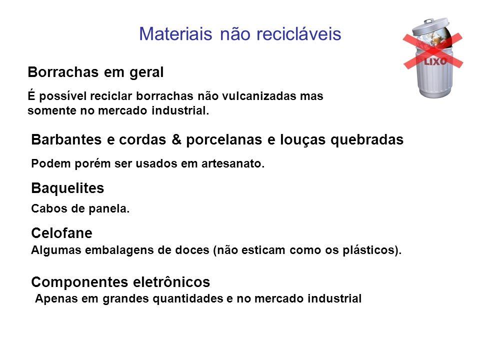 Materiais não recicláveis Borrachas em geral É possível reciclar borrachas não vulcanizadas mas somente no mercado industrial. Barbantes e cordas & po