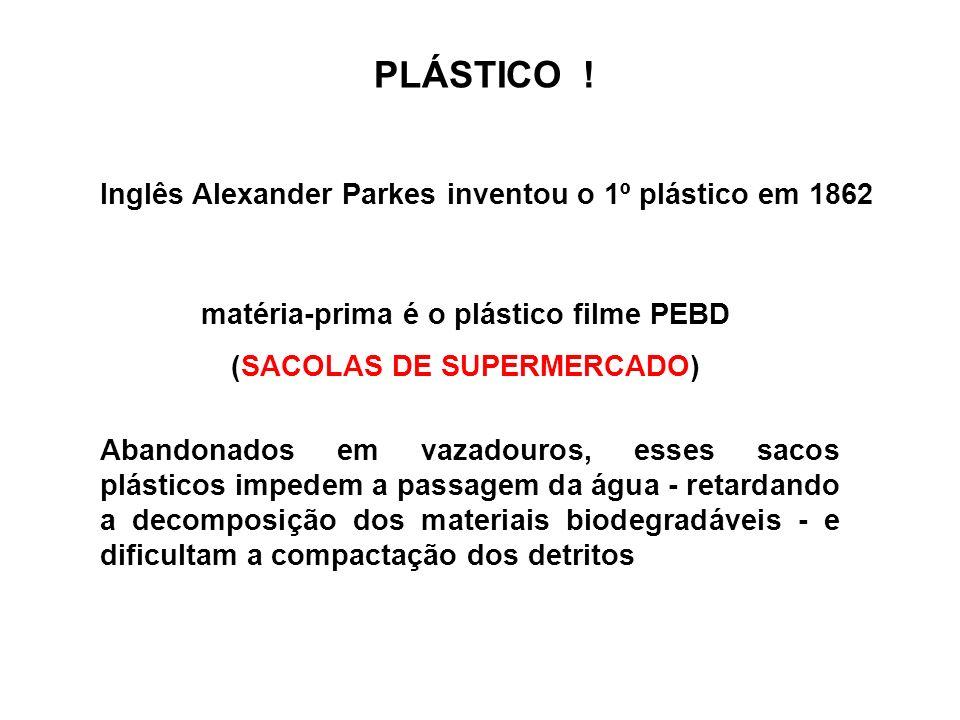 Inglês Alexander Parkes inventou o 1º plástico em 1862 PLÁSTICO ! Abandonados em vazadouros, esses sacos plásticos impedem a passagem da água - retard