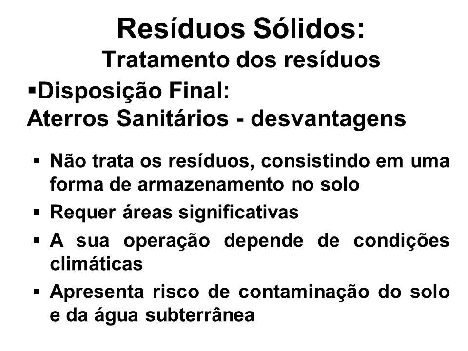 Resíduos Sólidos: Tratamento dos resíduos Disposição Final: Aterros Sanitários - desvantagens Não trata os resíduos, consistindo em uma forma de armaz