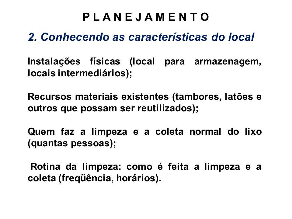 2. Conhecendo as características do local Instalações físicas (local para armazenagem, locais intermediários); Recursos materiais existentes (tambores