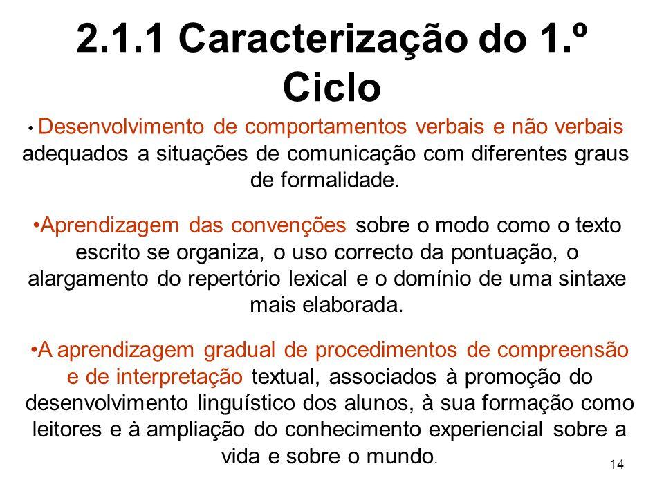 14 2.1.1 Caracterização do 1.º Ciclo Desenvolvimento de comportamentos verbais e não verbais adequados a situações de comunicação com diferentes graus