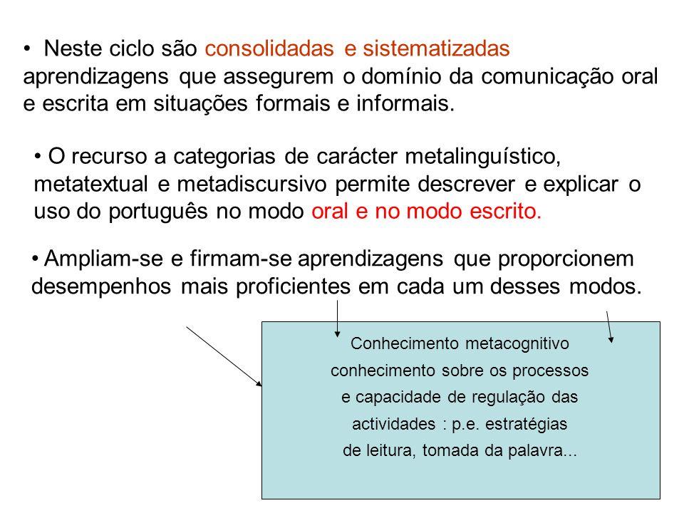 19 Neste ciclo são consolidadas e sistematizadas aprendizagens que assegurem o domínio da comunicação oral e escrita em situações formais e informais.