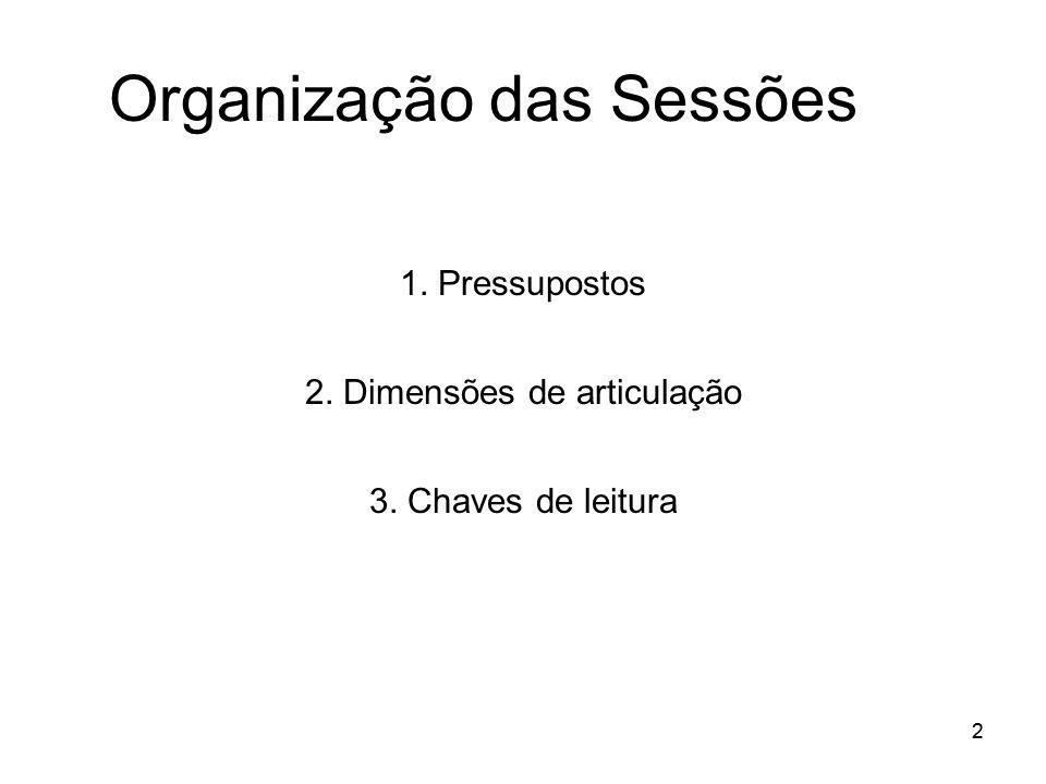 22 Organização das Sessões 1. Pressupostos 2. Dimensões de articulação 3. Chaves de leitura