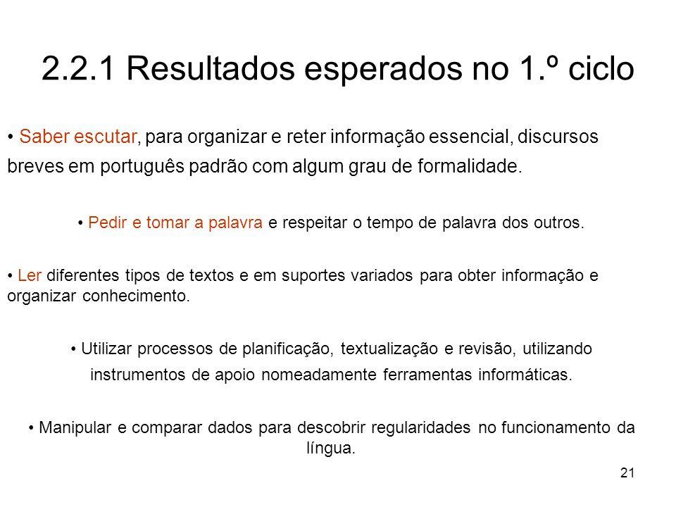 21 2.2.1 Resultados esperados no 1.º ciclo Saber escutar, para organizar e reter informação essencial, discursos breves em português padrão com algum