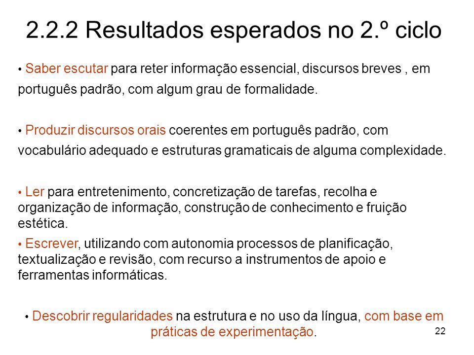 22 2.2.2 Resultados esperados no 2.º ciclo Saber escutar para reter informação essencial, discursos breves, em português padrão, com algum grau de for