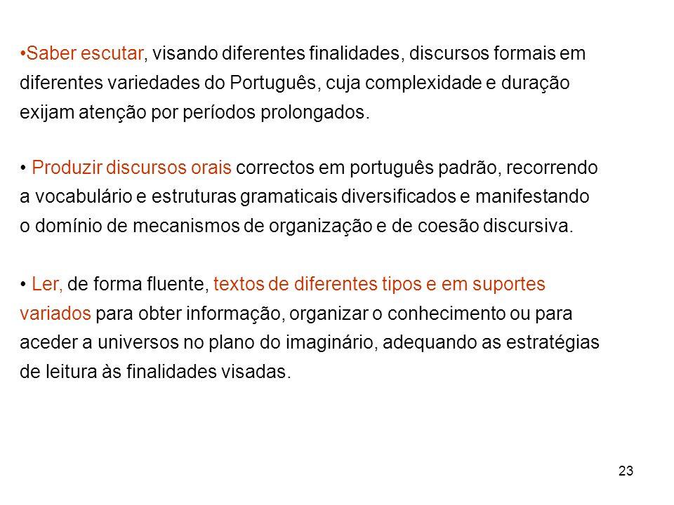 23 Saber escutar, visando diferentes finalidades, discursos formais em diferentes variedades do Português, cuja complexidade e duração exijam atenção