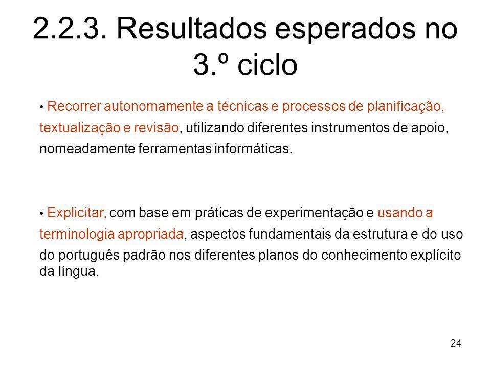 24 2.2.3. Resultados esperados no 3.º ciclo Recorrer autonomamente a técnicas e processos de planificação, textualização e revisão, utilizando diferen