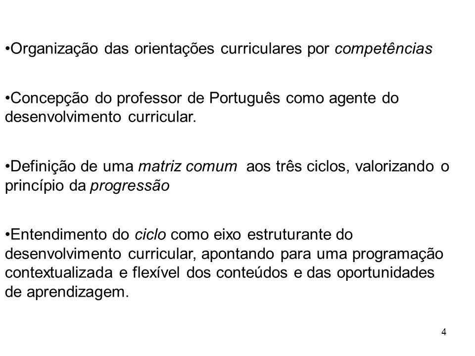 4 Organização das orientações curriculares por competências Concepção do professor de Português como agente do desenvolvimento curricular. Definição d