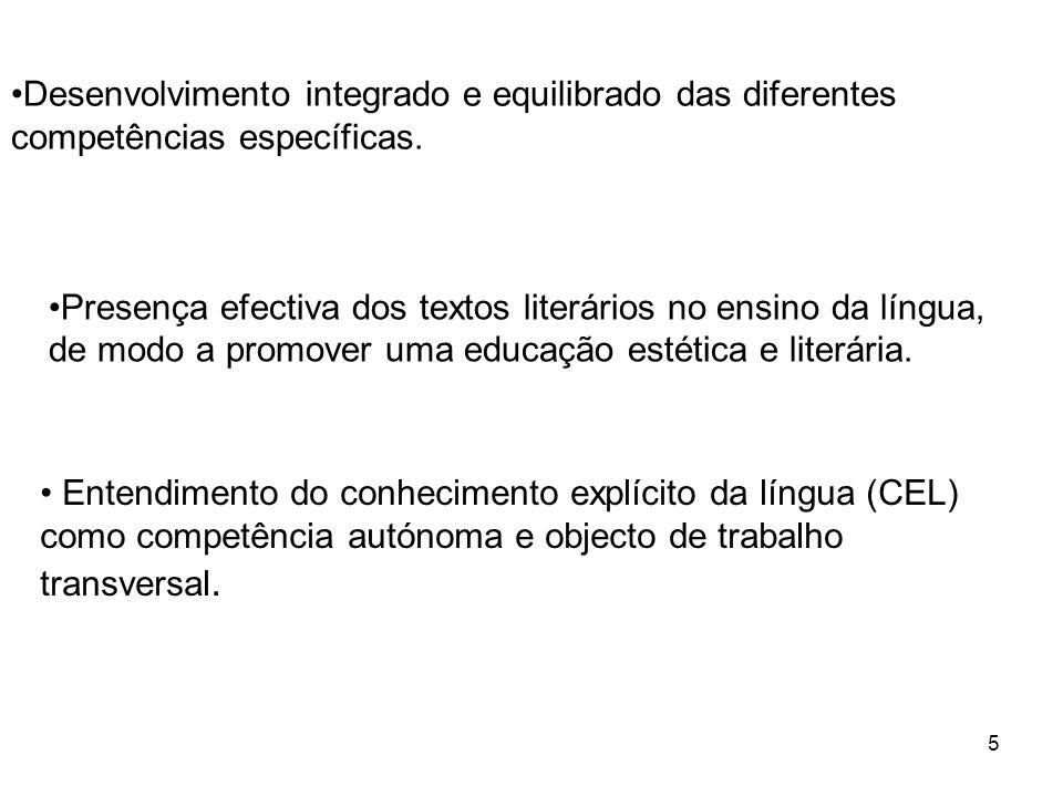 5 Desenvolvimento integrado e equilibrado das diferentes competências específicas. Presença efectiva dos textos literários no ensino da língua, de mod