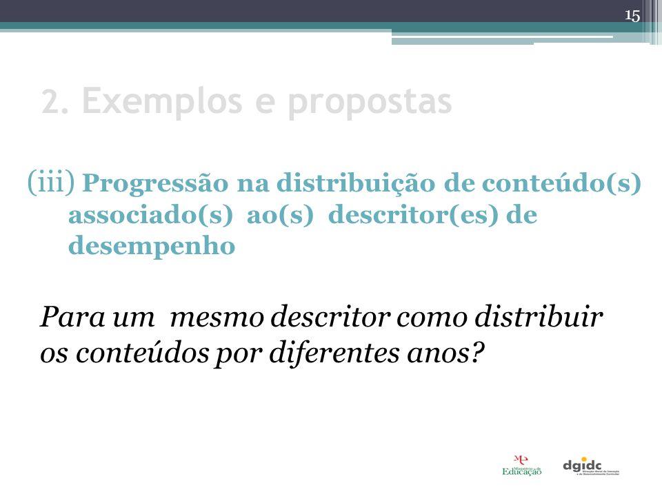 2. Exemplos e propostas (iii) Progressão na distribuição de conteúdo(s) associado(s) ao(s) descritor(es) de desempenho Para um mesmo descritor como di