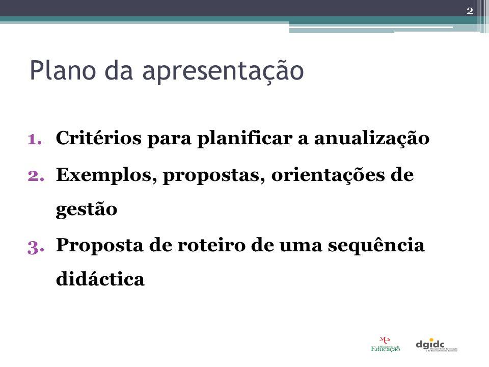 1.Critérios para planificar a anualização 2.Exemplos, propostas, orientações de gestão 3.Proposta de roteiro de uma sequência didáctica Plano da apresentação 2
