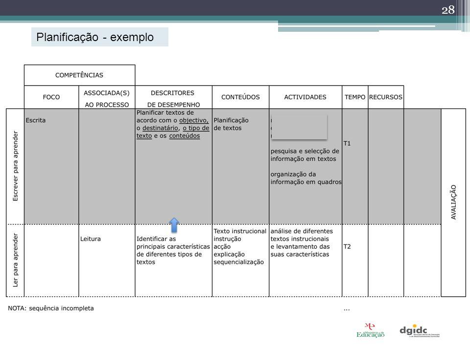 Planificação - exemplo 28