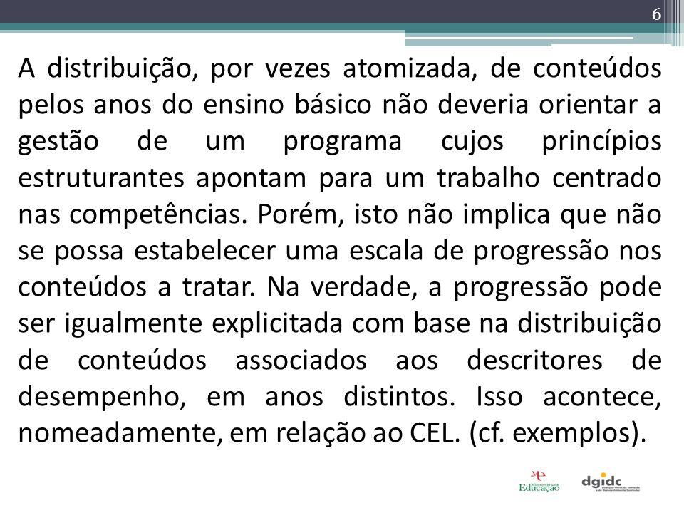 6 A distribuição, por vezes atomizada, de conteúdos pelos anos do ensino básico não deveria orientar a gestão de um programa cujos princípios estrutur
