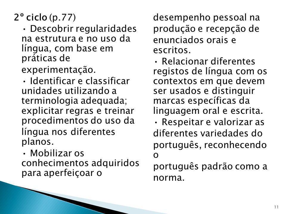 2º ciclo (p.77) Descobrir regularidades na estrutura e no uso da língua, com base em práticas de experimentação. Identificar e classificar unidades ut